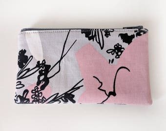 Zippered Coin Purse with Pink Grey Print and Card Slot