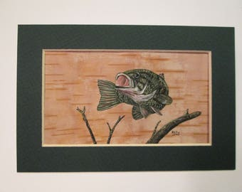 "Bass hand painted on birch bark by Ann Kelly - Matted  - 4"" x 6"""