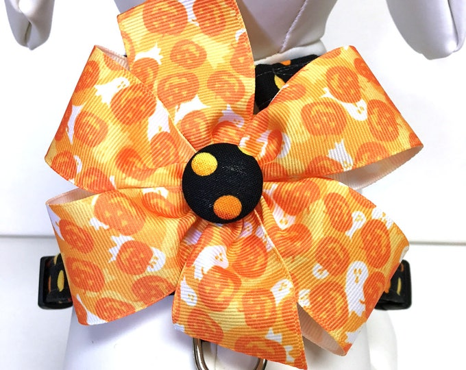 Featured listing image: Dog Harness- The Pumpkins and Boo Camo- Adjustable Harness- Removable Bow