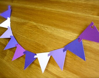 Petite Paper Flags Party Banner-Lot of 25 Connecting Flags-Your Color CHOICE-Punches-Cake Topper-Birthday Party Decor-Baby, Bridal Shower