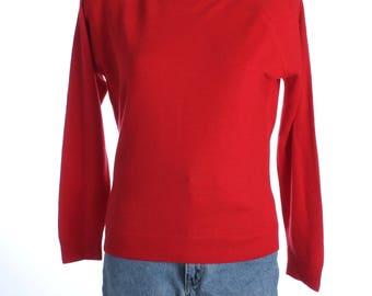 Vintage 80s Littlewoods Simple Scarlet Red Jumper UK 12 US 10