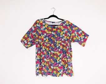 Bright Floral Vintage 90s Babydoll Grunge Dress Tunic Small Medium