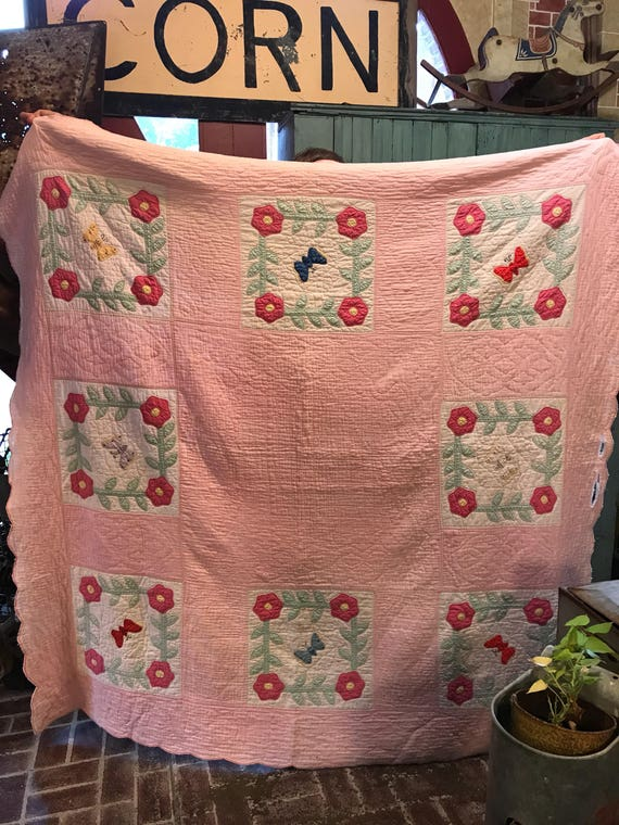 Vintage Butterfly Quilt w Pink Flower Indiana Hand Quilted Stitched 78x78 inches
