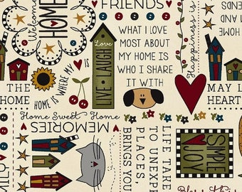20 % off thru 7/4 BLESS THIS HOME  Henry Glass words sayings inspiration on cream quilters cotton fabric by the half yard