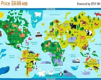 World Map Fabric Windham. 15  off thru 4 17 Animal World MAp cotton print fabric panel Timeless Treasures map quilt Etsy