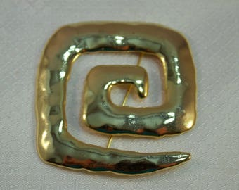 1988 Jonette Jewelry Modernist Gold Maze Brooch