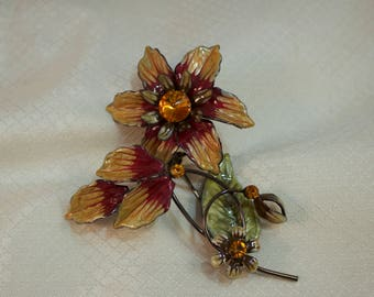 c1980's Fantasy Enameled Flower Brooch, Clematis Flower Enameled Brooch