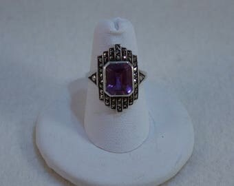 Art Deco Reproduction Amethyst, Marcasite and Sterling Ring