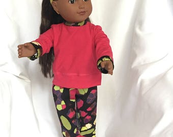 "18"" Doll Trendy Sporty Sweatshirt and Leggings Hot Pink and Multicolored"