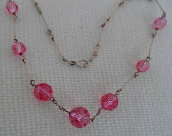 1920's pink faceted glass on rolled gold link necklace
