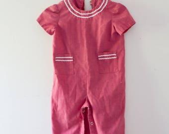 Vintage Baby Toddler Romper Jumper Clothing Girls Outfit Vintage Girls Red Overalls