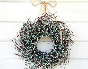 MINI Twig Wreath-Teal Wreath-Mini Window Wreath-Spring Wreath-Farmhouse Wreath-Country Chic Wall Hanging-Rustic Decor-Centerpiece-Gifts