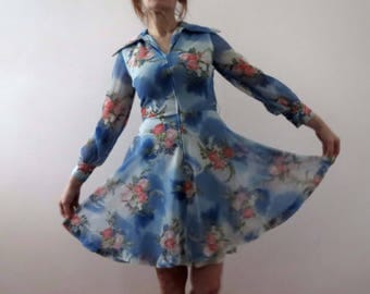 70s Sky Blue Floral Circle Skirt Dress Paul of California