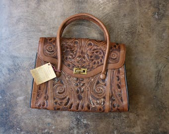 Tooled Leather Handbag / Southwest Top Handle Purse / Brown Tooled Leather Mexican Tote