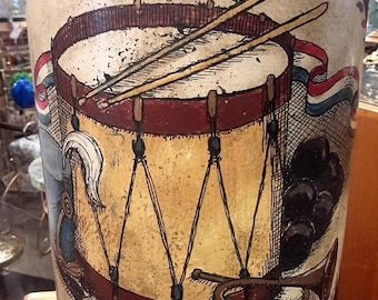 ON SALE Fredrick Cooper Lamp Tea Canister Shape Independence Revolution Drummer Black Powder Gun Includes Shade Mid Century Lighting