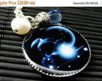 SUMMER SALE Capricorn Zodiac Necklace. Sun Sign Charm Necklace in Blue. Handmade Jewelry.