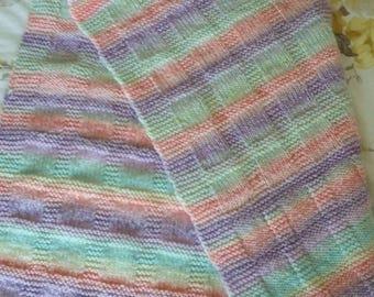 Lightweight baby blanket - multi-colour pastels