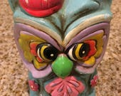 Vintage paper mache/ chalkware OWL bank