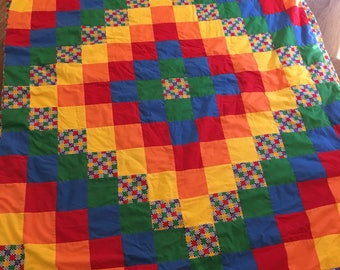 Large vintage pattern light weight quilt patchwork rainbow bright colors
