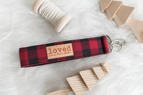 "Buffalo Plaid Key Lanyard | Red and Black Buffalo Check Key Fob with ""Loved"" on Label 