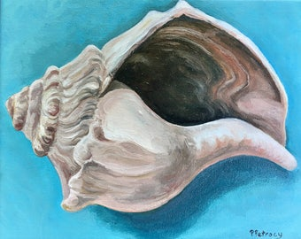 Seashell beach cottage chic painting