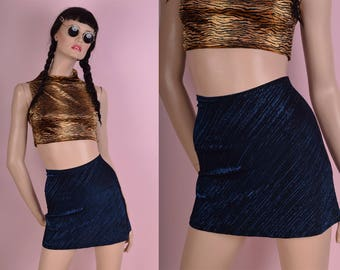 90s Black and Blue Metallic Mini Skirt/ Small/ 1990s