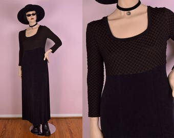 90s Black and Brown Maxi Dress/ Large/ 1990s/ Long Sleeve