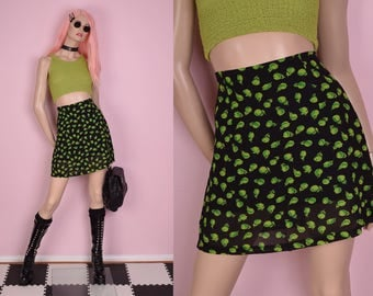 90s Green and Black Floral Print High Waisted Skirt/ 26.5 Waist/ 1990s