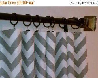 SALE Ash Gray White Zig Zag Chevron Curtains  Rod Rocket  63 72 84 90 96 108 120 Long x 25 or 50 Wide