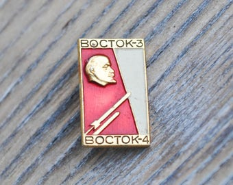 "Vintage Soviet Russian Space badge,pin.""Vostok 3-4"""