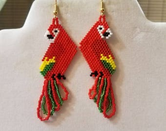Beautiful Native Hand Beaded Red Yellow and Green Macaw Parrot Earrings Southwestern, Boho, Hippie, Peyote, Parrot Lover Earrings Great Gift