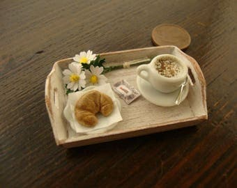 Miniature, dollhouse, wooden tray, shabby chic with a delicious ,Italian breakfast, 1:12 th scale,