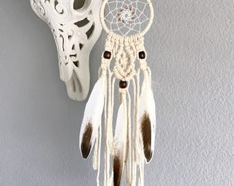 Mini Macrame Dream Catcher // Ivory Brown White Feathers, Copper Beads, Boho Home Nursery Decor, Baby Shower Gift, Handmade Car Dreamcatcher