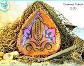"Hamsa Hand ring keeper, hand painted decorative art, OOAK 1537 ""Blooming Hamsa"""
