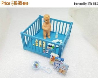 Renwal Blue  Play pen and Toddler Doll House Toy  Plastic  Baby Nursery Crib Baby cage