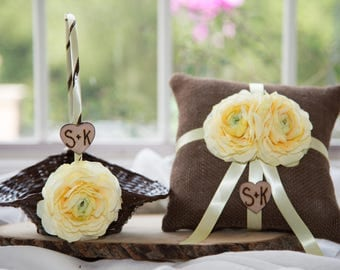 Flower girl basket and ring bearer pillow with ribbon and silk flowers of your choice