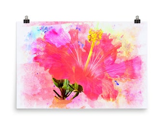 Simply Pink Exotic Flower, Floral, Tropical, Museum Quality Poster Print