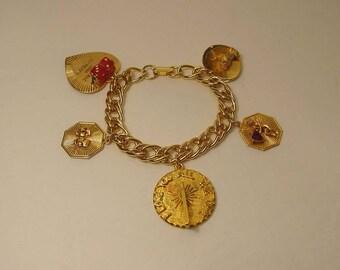 1960s LOVE Goldtone Charm Bracelet