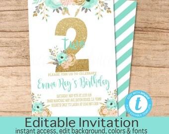 Second Birthday Invitation, Peach Mint Gold Floral Invitation, Birthday invitation, Editable Birthday Invitation, Templett, Instant Download