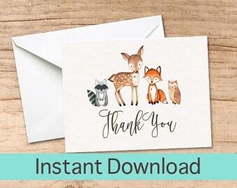 Woodland Thank You Card, Woodland Animal Printable Thank you Cards, Woodland Instant Download, DIY Printable, Thank You Card