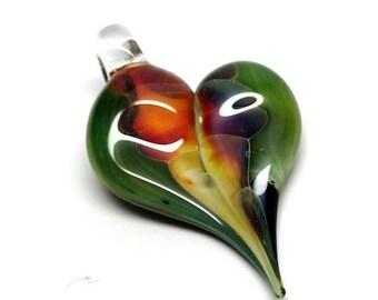 HALF OFF SALE Lampwork Glass Pendant, Rainbow Heart/Leaf, 44x26mm