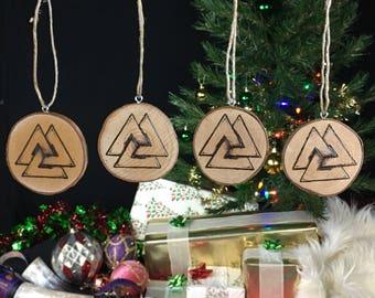 Yule Ornaments - Valknut - Set of 4 - Yule Tree Decorations - Viking Yule - Yule Decorations - Asatru Ornaments - Viking Gift