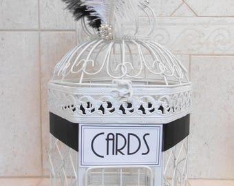 Medium Gatsby Themed Wedding Birdcage Card Holder / Wedding Card Box / Custom Wedding Decor / Gatsby Themed Wedding / Ostrich Feathers