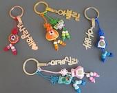 Personalized Korean Name Keychain w/ Knot Ornaments - 3 Metal Colors - Hangul Name Keychain - Korean Keychain - Custom Name Gift - Hangul