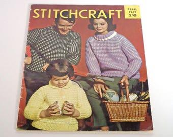 Stitchcraft Vintage Magazine, April 1962, Knitting, Crochet, Sewing, Crafts, Home Crafts, Needlecrafts, Home Making, 1960s Vintage