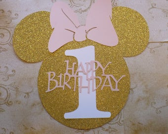 1 XL Minnie Mouse Head Shape 1 yr Die Cut for crafts DIY Gold Glitter Happy Birthday Party Banners Wall Door Decorations