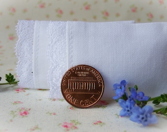 Miniature Pillows, Set of 2 White Pillows with Floral Lace Trim  - 1/12 scale