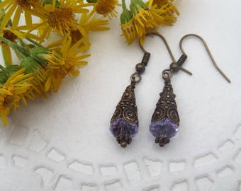 Decorative Cone Brass Dangle Earrings with light blue Crystal Bead