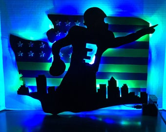 Seattle Seahawks American Flag Sign