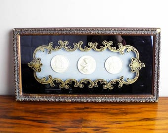 Antique Framed Cameo Intaglios Wall Hanging Picture, Romanesque Style Home Decor Decoration, Housewarming Gift Ideas